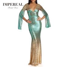 Long Sequin Dubai Ladies Sequin Backless Long Sleeve Evening Dress