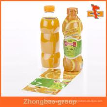Gravura de impressão de PVC de plástico transparente suco de frutas garrafa manga etiqueta