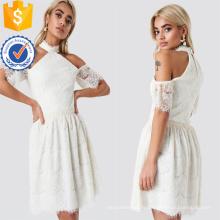 Cold Shoulder manches courtes dentelle blanche Mini robe d'été Fabrication en gros Fashion femmes vêtements (TA0288D)