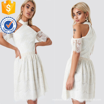 Cold Shoulder Short Sleeve White Lace Mini Summer Dress Manufacture Wholesale Fashion Women Apparel (TA0288D)