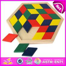 2014 nouveaux jouets en bois de puzzle de bloc, jouets en bois de puzzle de bloc de haute qualité, jouets de puzzle en bois de vente chaude de bloc W13A048