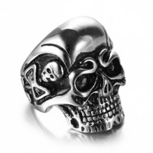 High polished Casting IP gold plating skull ring