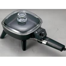 Poêle électrique d'en aluminium coulé, 7 Nch avec couvercle en verre