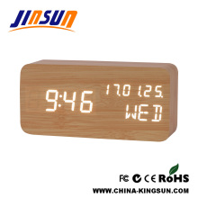Moderne Led Kalender Uhr Holz Feature New Design