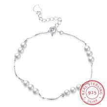 925 pulsera de acero de ley delicada pulsera de plata perla para niña