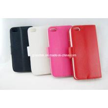 Venda quente lichee padrão de carteira de couro flip case para iphone5 acessórios (chuva-20130912-02)