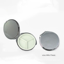Small Round Metal Mirror Box for Cosmetics (BOX-28)