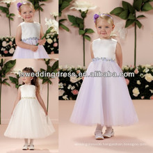 HF2006 Tow colors sleeveless plain satin top jewel neck three-dimensional layers tulle ribbon waist flowers girls party dresses