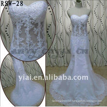 RSW-28 2011 Hot Sell New Design Ladies Fashionable Elegant Customized Beautiful Transparent Boned Body Mermaid Bridal Dress
