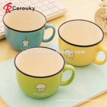 High quality colorful ceramic stoneware imitation enamel coffee cup