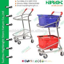 2 Tiers Double Baskets Тележка для супермаркетов