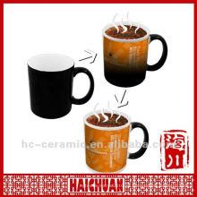 Taza mágica de cerámica, taza cambiante de la foto con agua caliente