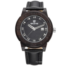 SKONE 9426 leather band wood face watch