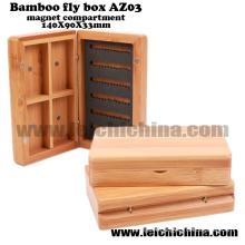 en stock Boîte à mouches en bambou Magenetic Compartments