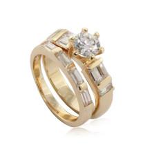 Ebay Китай сайт нержавеющей стали женщин циркон золотое кольцо