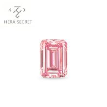 ForeverFlame  fancy pink 3ct 7mm*10mm  Emerald Cut diamond vvs CVD CZ Moissanite women jewlery ring