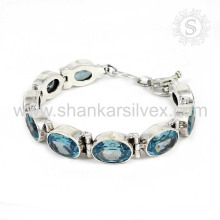Incredible - look blue topaz gemstone silver bracelet jewelry 925 sterling bracelets silver jewellery wholesaler