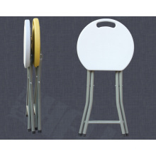 Barato Blanco HDPE molde de soplado peso ligero plegable ronda barra taburetes al por mayor