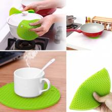Glass Cup Mat Silicone Round Green Coaster