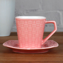6OZ Pink Woven pattern cup and saucer