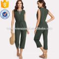 Green Drawstring Waist Solid Jumpsuit OEM/ODM Manufacture Wholesale Fashion Women Apparel (TA7001J)