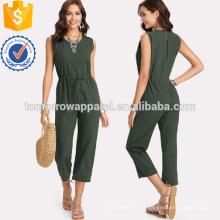 Cintura con cordón verde Mono sólido OEM / ODM Fabricación al por mayor Ropa de mujer de moda (TA7001J)