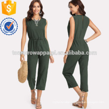 Green Drawstring Waist Solid Jumpsuit OEM/ODM Manufacture Wholesale Fashion Women Apparel (TA7001J)
