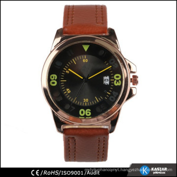 Japan quartz calendar movement brown mens watch leather