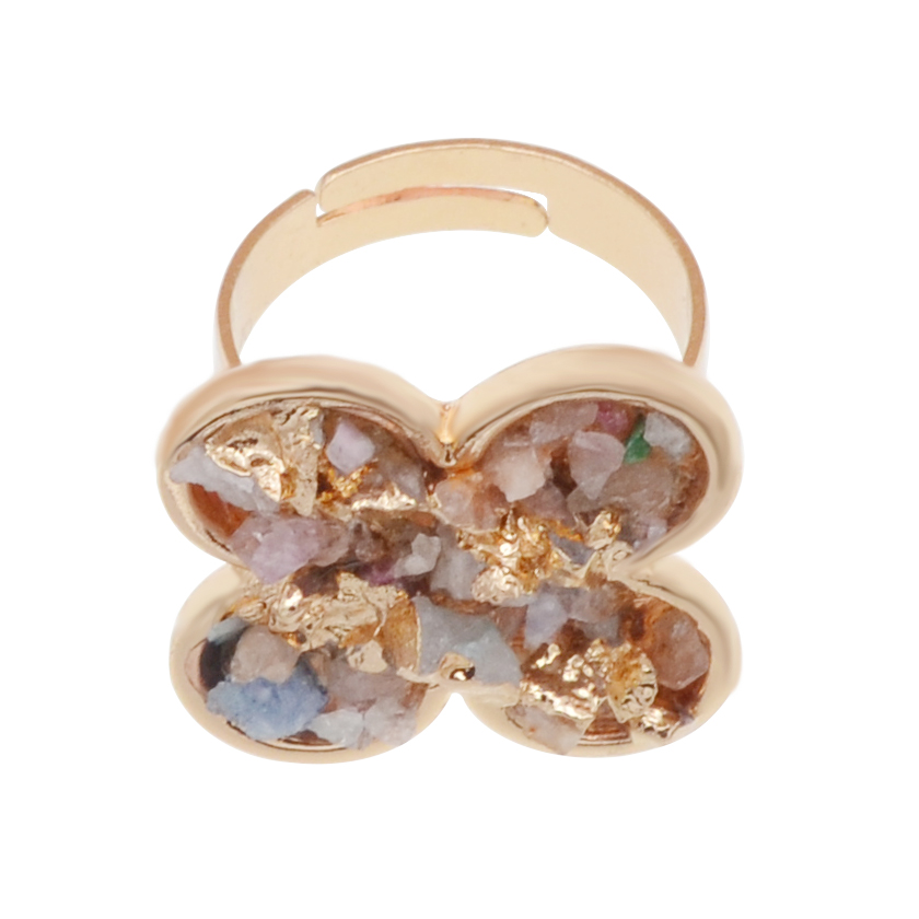 Natural Real Rough Drusy Crystal Rings with adjustable metal women finger Chakra jewelry Plated 18K Gold