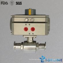 Válvula de bola neumática sanitaria de acero inoxidable con abrazaderas