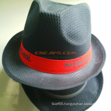 Custom Printed Polyester Fedora Hat with Ribbon for Advertising