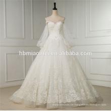 Lange Hülse A-Linie Hochzeitskleid kurze vordere lange Rückseite weiß Swwet Herz Hals sexy Brautkleid 2016 Spitze