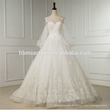 Manches longues Une ligne de robe de mariée courte avant longue dos blanc swwet coeur cou sexy robe de mariée 2016 dentelle