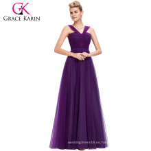 Grace Karin elegantes últimos vestidos de fiesta diseños sin mangas de color púrpura largo vestido de noche Tulle vestido de baile de fin de curso GK000064-1
