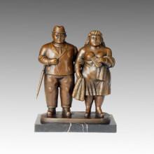 Statue de la figure orientale Couple jouant de la sculpture en bronze TPE-630