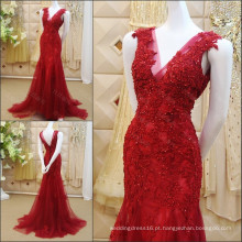 Red Applique Lace Beaded Mermaid Evening Dresses 2016 Real Picture Sexy V-neck Tulle Formal Party Vestidos Frete Grátis ML186
