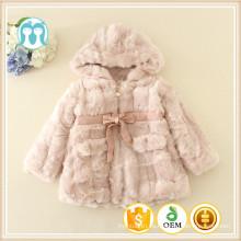 Abrigos de invierno para niños Navidad manga larga chaquetas al por mayor de piel 2016 niñas de moda abrigos de lana