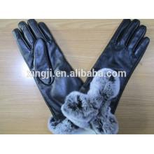 высокое качество мода овчины кожаные перчатки с мехом кролика для подарка