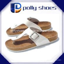 Womens Brown Leder Casual Thong Sandalen