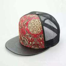 Flache schwarze Druck Blume Logo Mesh Snapback Hip-Hop Cap (ACEK0065)
