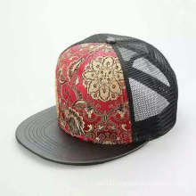 Flat Black Printing Flower Logo Mesh Snapback Hip-Hop Cap (ACEK0065)