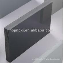 Hoja rígida de PVC gris alto brillo