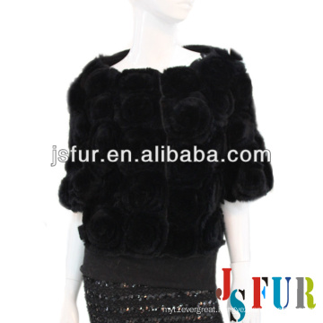 New product flower pattern party black rabbit fur coat