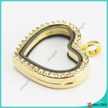 Jóias de medalhões de vidro de cristal ouro coração ímã