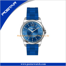 Round Shape Two Case Fashion Watch with Silicone Band