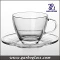 Copa de té de vidrio y platillo conjunto (TZ-GB09D5108)