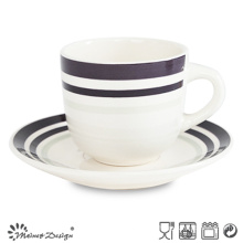 8oz Ceramic Cup and Saucer with Simple Elegant Design