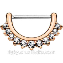 Gefüttert Clear CZ Set Nippel piercing Shaft Rose Gold IP über Messing Körper gezeichnet Schädel Nippel Clicker Ring