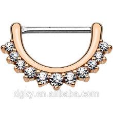 Lined Clear CZ Set pezón de perforación de eje Rosa de oro IP sobre latón Cuerpo alineado cráneo pezón Clicker Ring