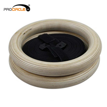High Quality Colorful Wood Gymnastic Rings with Straps